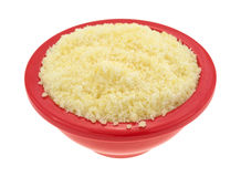 Small bowl of grated Pecorino Romano cheese. A small bowl filled with grated Pecorino Romano cheese isolated on a white background Royalty Free Stock Photos