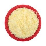 Small bowl of grated Pecorino Romano cheese Stock Photo