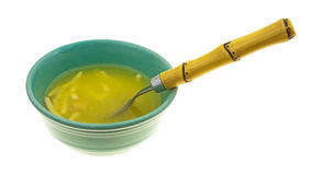 Small bowl of half eaten chicken noodle soup Stock Photography