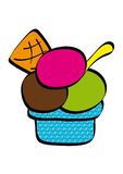 Small bowl of ice cream colored Royalty Free Stock Image
