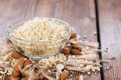 Small bowl with Minced Almonds Royalty Free Stock Photos