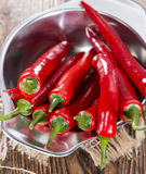 Small bowl with red Chillies Stock Images