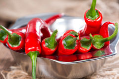 Small bowl with red Chillies Royalty Free Stock Image