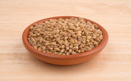 Small bowl of red winter wheat berries on wood table Royalty Free Stock Photography