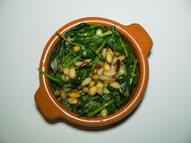 Small Bowl of Spinach with Pine Nuts Stock Photos
