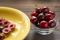 Small bowl of sweet cherry Royalty Free Stock Photo