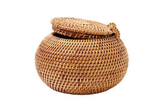 Small box. Braiding small box with a round lid Royalty Free Stock Images