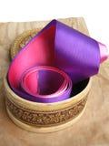 Small Box And Satiny Ribbons Royalty Free Stock Photography