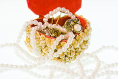 Small box from cockleshells with decorations Stock Photos