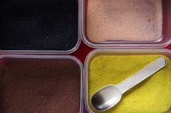 Powder sand for painting, kid`s toys royalty free stock photos