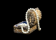 Small box with pearls Royalty Free Stock Photo