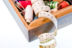 Small box with sewing belonging Stock Photos