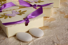 Small box used to hold sugared almonds Royalty Free Stock Photography