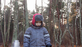 Small boy alone at forest Stock Photography