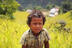 Small boy, Annapurna trail, Nepal Stock Photo