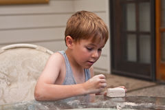 Small boy and art project Royalty Free Stock Photos