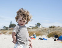 Small boy at beach Stock Images