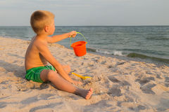 Small boy on the beach Royalty Free Stock Images