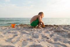 Small boy on the beach Royalty Free Stock Photos