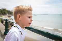 Small boy on the beach Royalty Free Stock Photo