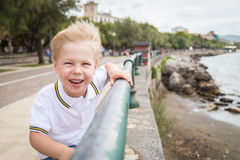 Small boy on the beach Stock Photography