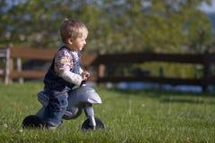 Small boy on the bike Royalty Free Stock Photos