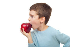 Small boy bitting an apple royalty free stock image
