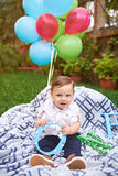 Small boy on blanket Royalty Free Stock Photo