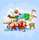 Small boy in box full of toys. Illustration Royalty Free Stock Photography