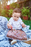 Small boy with cake Royalty Free Stock Images
