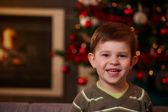 Small boy at christmas Royalty Free Stock Images