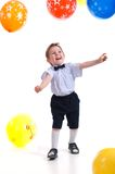 Small boy with colorful  air balloon. Royalty Free Stock Image