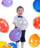 Small boy with colorful  air balloon. Stock Photo