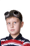 Small boy in dark glasses looking in the camera Stock Image