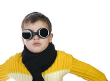 Small boy in dark glasses pretends to be a pilot Stock Images