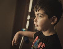 Small boy at dark Royalty Free Stock Photo