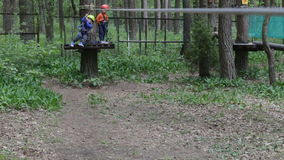 Small boy descends from platform at tree on rope stock footage