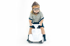 Small boy driver or pilot isolated on white Stock Photography