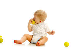 Small boy eating an apple Royalty Free Stock Photos
