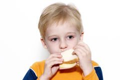 Small boy eating healthy sandwich Stock Images