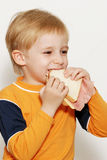 Small boy eating healthy sandwich Royalty Free Stock Photos