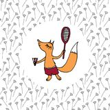 A small boy-fox in shorts playing badminton on the field Stock Photography