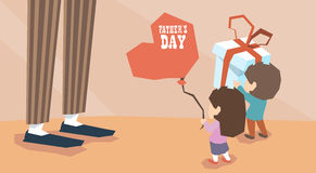 Small Boy Girl Give Present Balloon Adult Man Long Legs Father Day Royalty Free Stock Photos