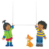 Small boy and girl holding banner Stock Photos