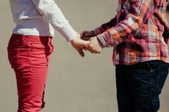 Small boy and girl holding hands Royalty Free Stock Image
