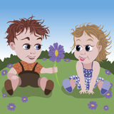 Small boy and girl. Illustration of little boy giving violet flower to small girl  on the meadow Stock Photography