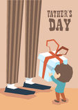 Small Boy Give Present Box Adult Man Long Legs Father Day Stock Photography