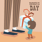 Small Boy Give Present Box Adult Man Long Legs Father Day Stock Images