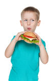Small boy with hamburger Royalty Free Stock Images