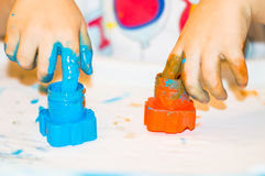 Small boy hands with paint Royalty Free Stock Image